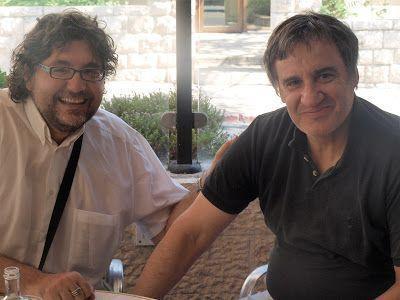 Con Eugenio G. Gascón en terraza del café París-Jerusalén