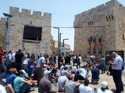 Conflicto palestino-israelí en la puerta Jaffa de Jerusalén